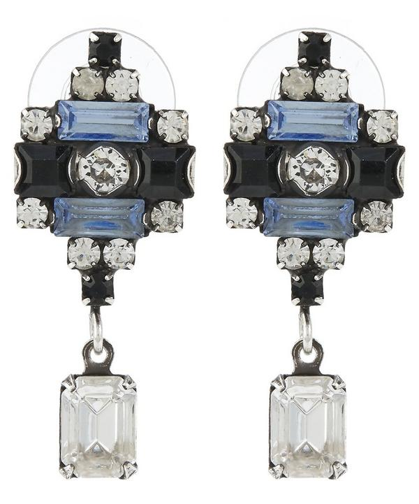 Silver-Plated Aix Denim Blue and Clear Drop Earrings