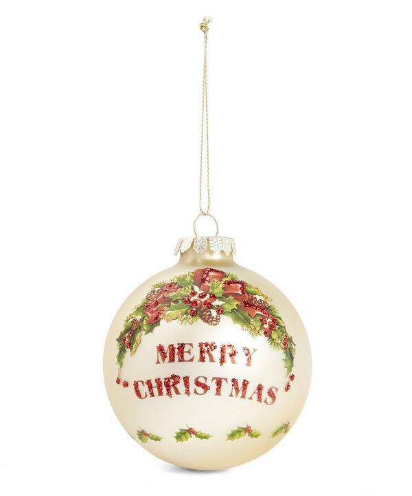 Goodwill Merry Christmas Holly Glitter Bauble