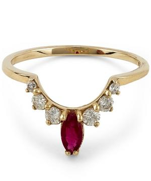 Marquise Diamond and Ruby Tiara Band
