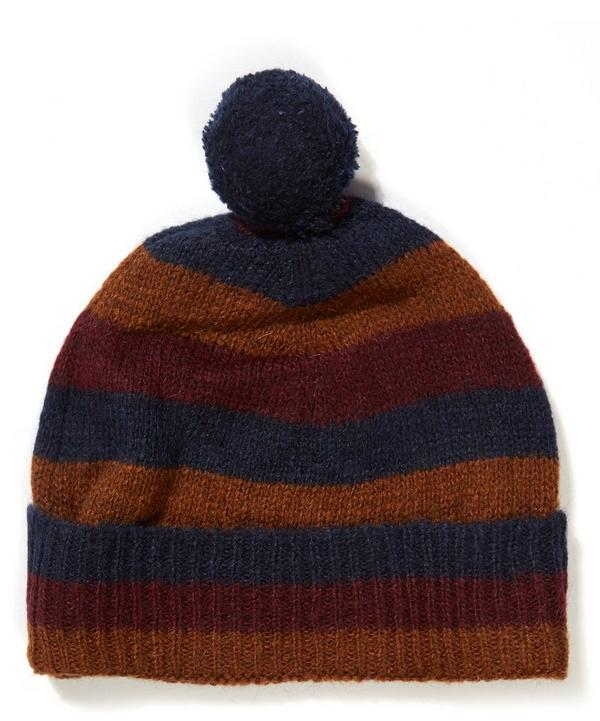 Striped Wool Blend Bobble Hat