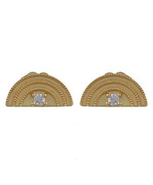 Rainbow and White Diamond Stud Earrings