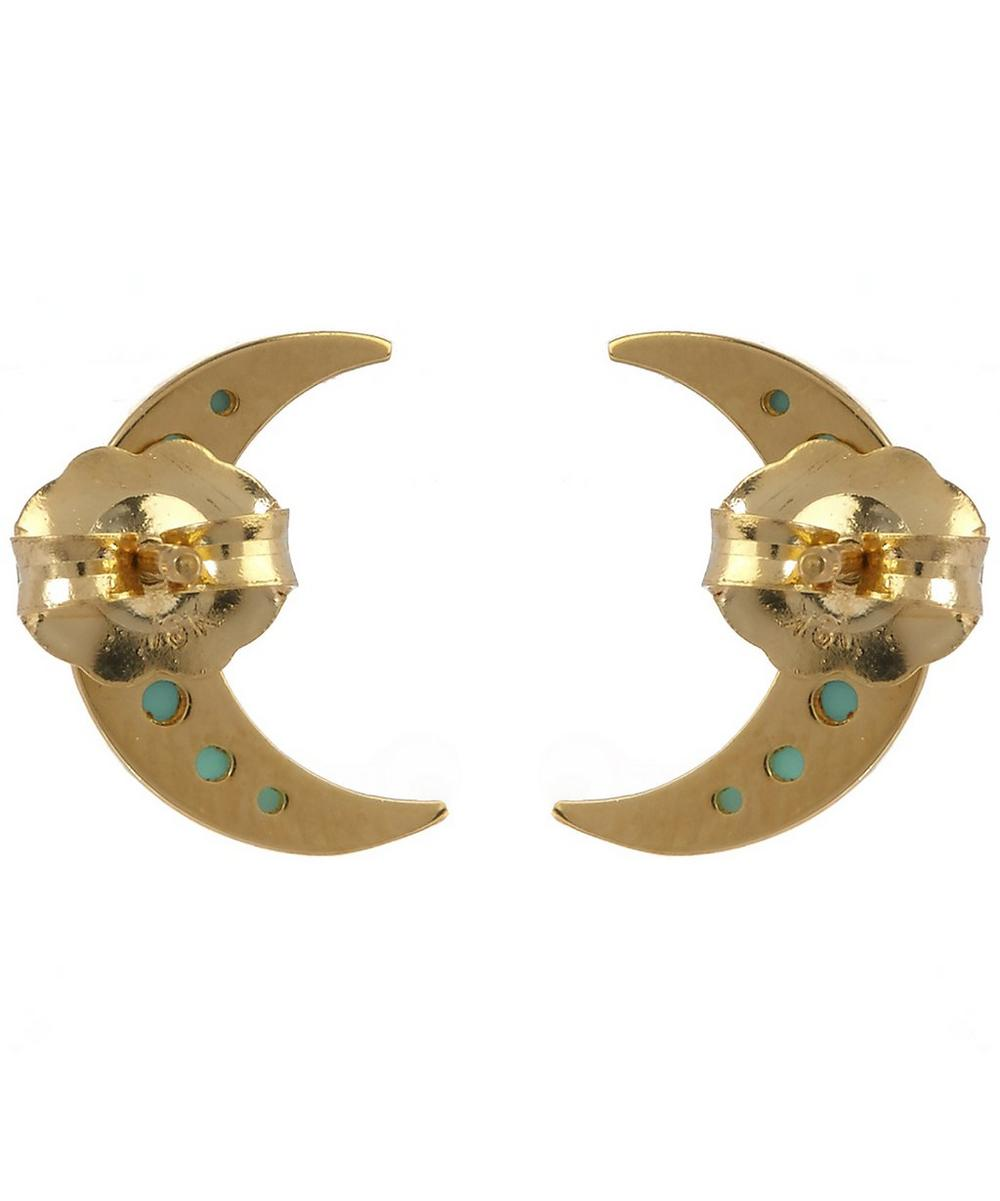 Mini Crescent Moon Studs with Turquoise
