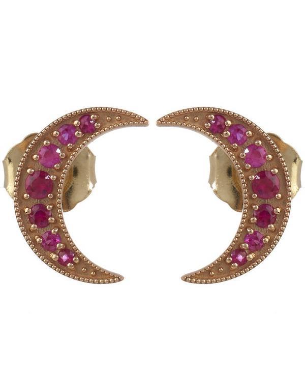 Gold Crescent Pink Sapphire Studs