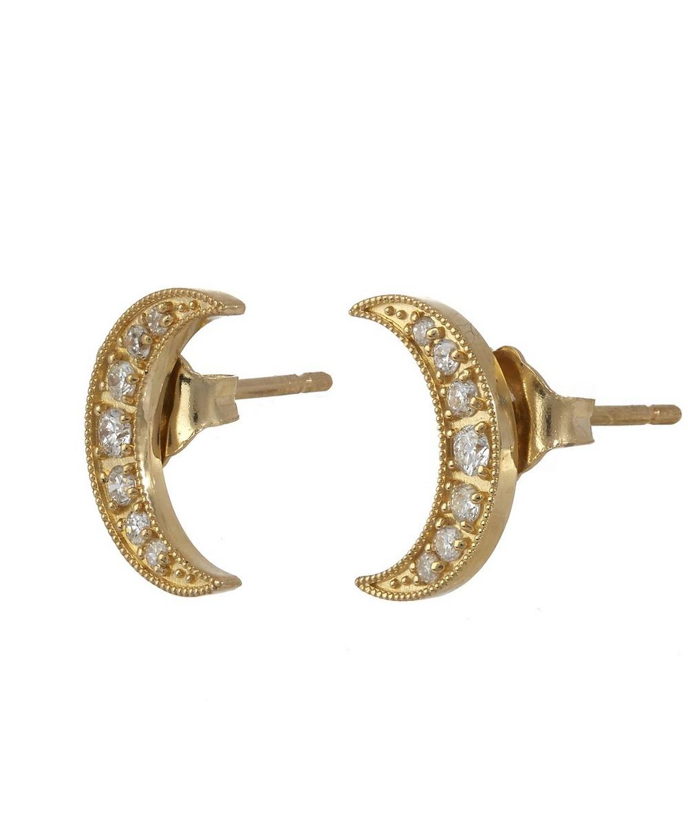 Mini Crescent Moon Studs with White Diamonds