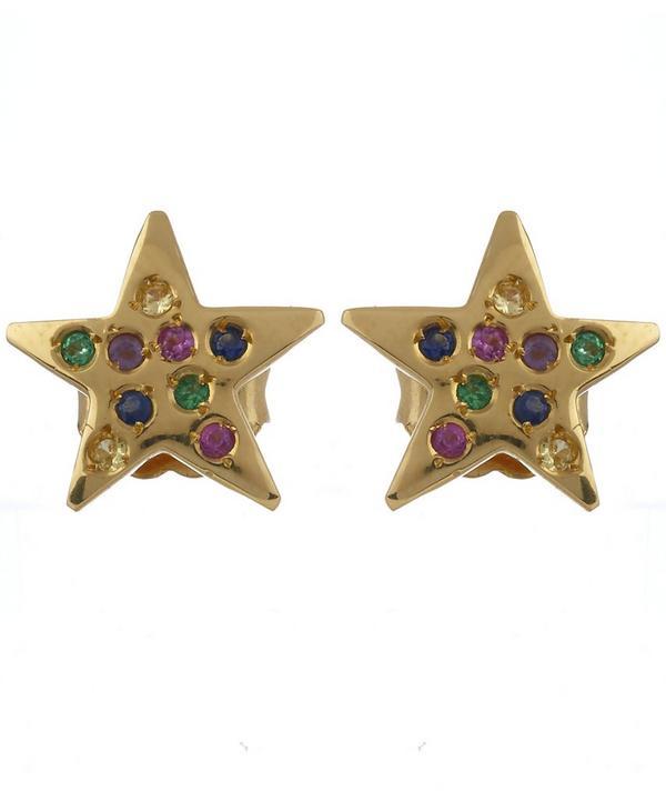 Gold Embellished Star Stud Earrings