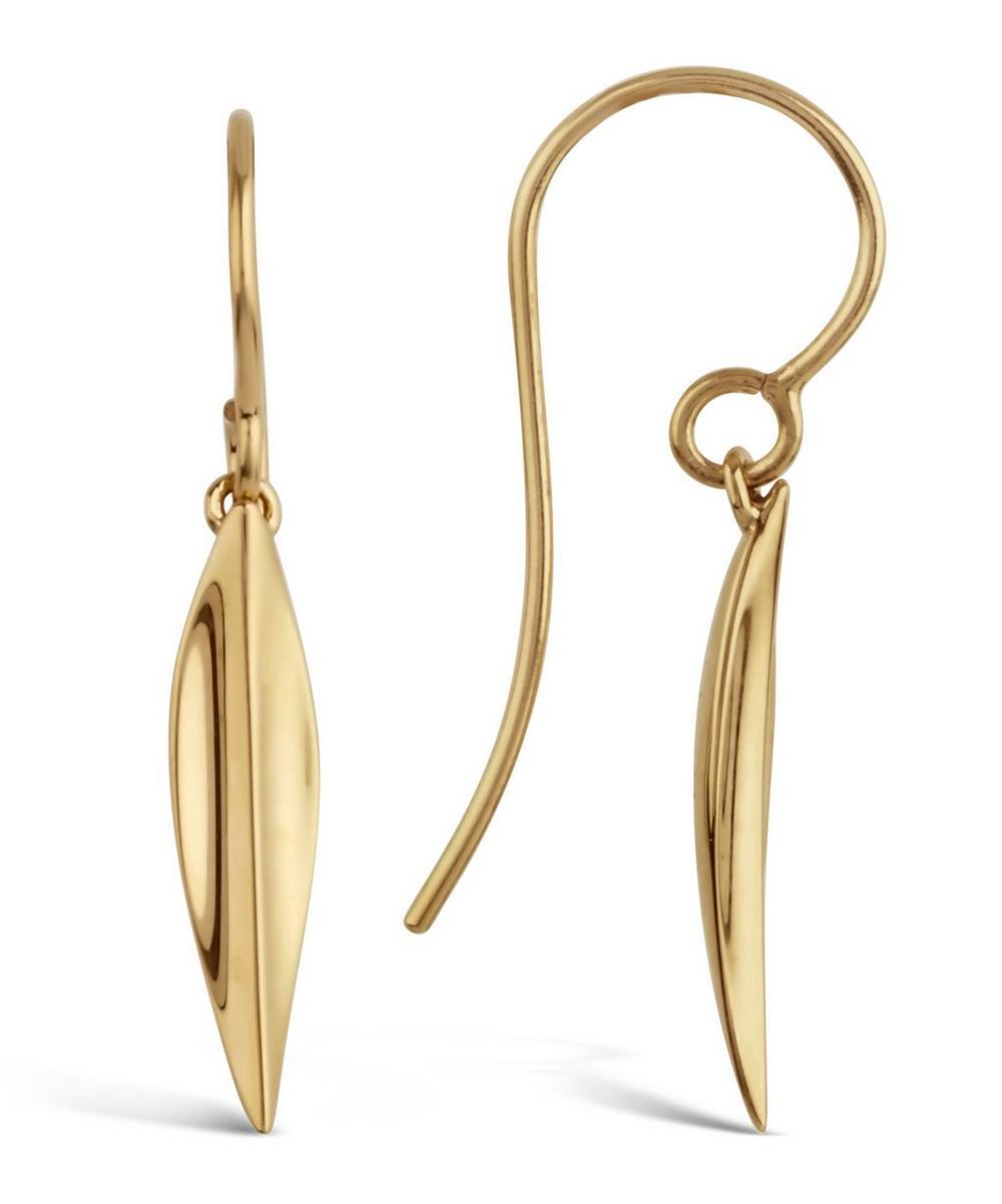 Medium Gold-Plated Lotus Petal Drop Earrings