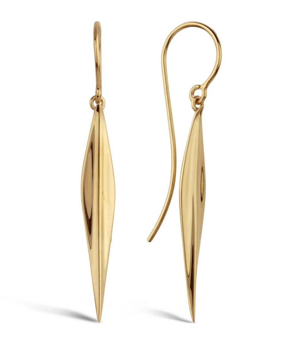 Long Gold-Plated Lotus Petal Drop Earrings