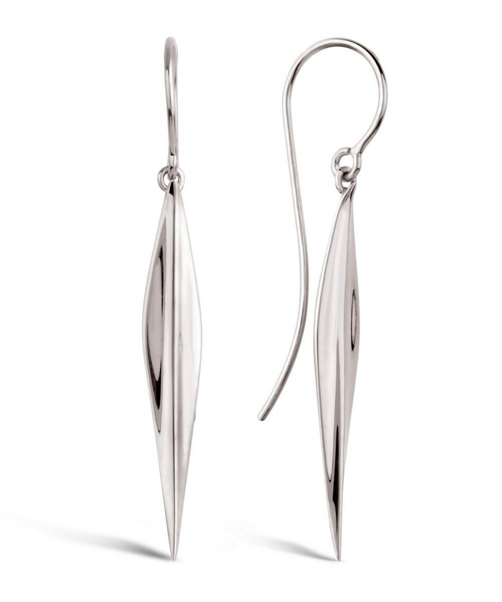 Long Silver Lotus Petal Drop Earrings