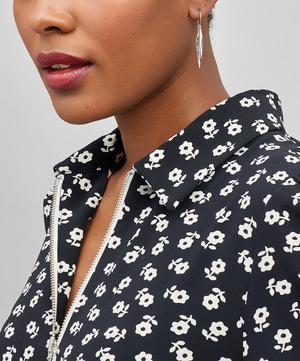 Long Silver Lotus Petal Drop Earrings