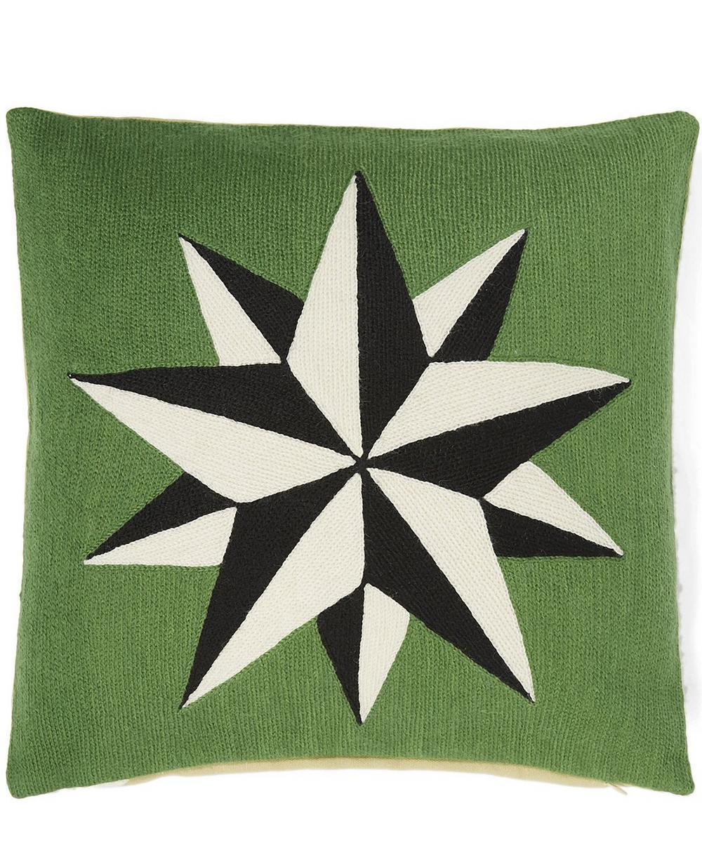 Chain Embroidered Star Cushion