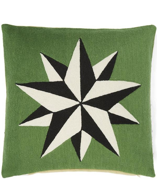 Chain Embroidered Star Cushion