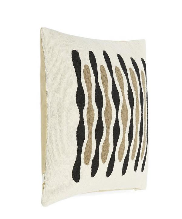 Embroidered Wave Cushion