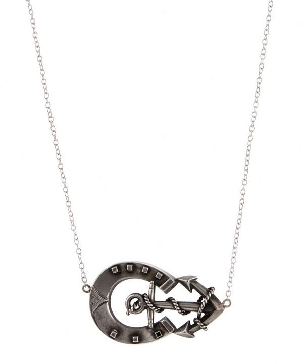 Silver Horseshoe Anchor Necklace