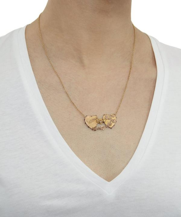 Gold Double Heart Mizpah Necklace