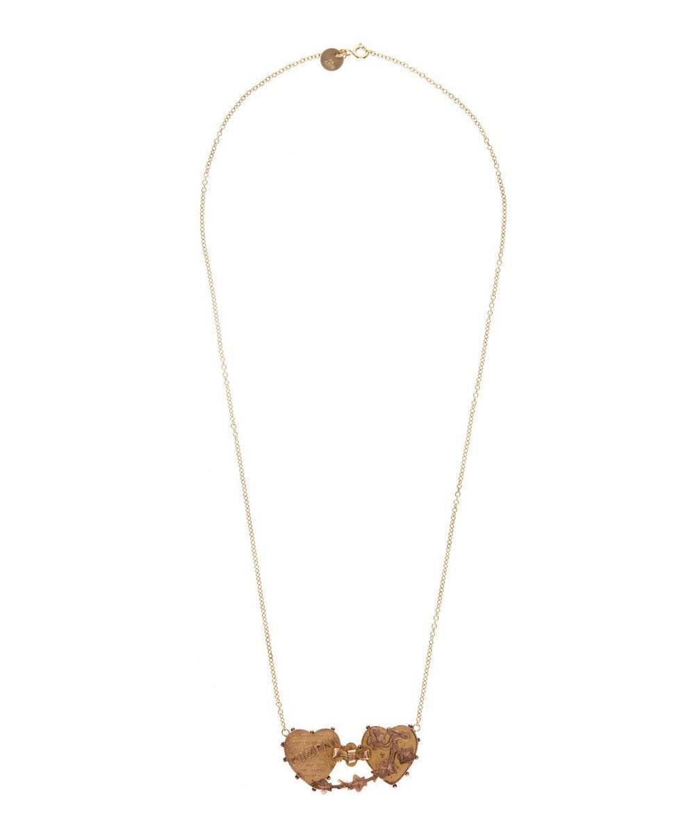 Gold Double Heart Mizpah Necklace