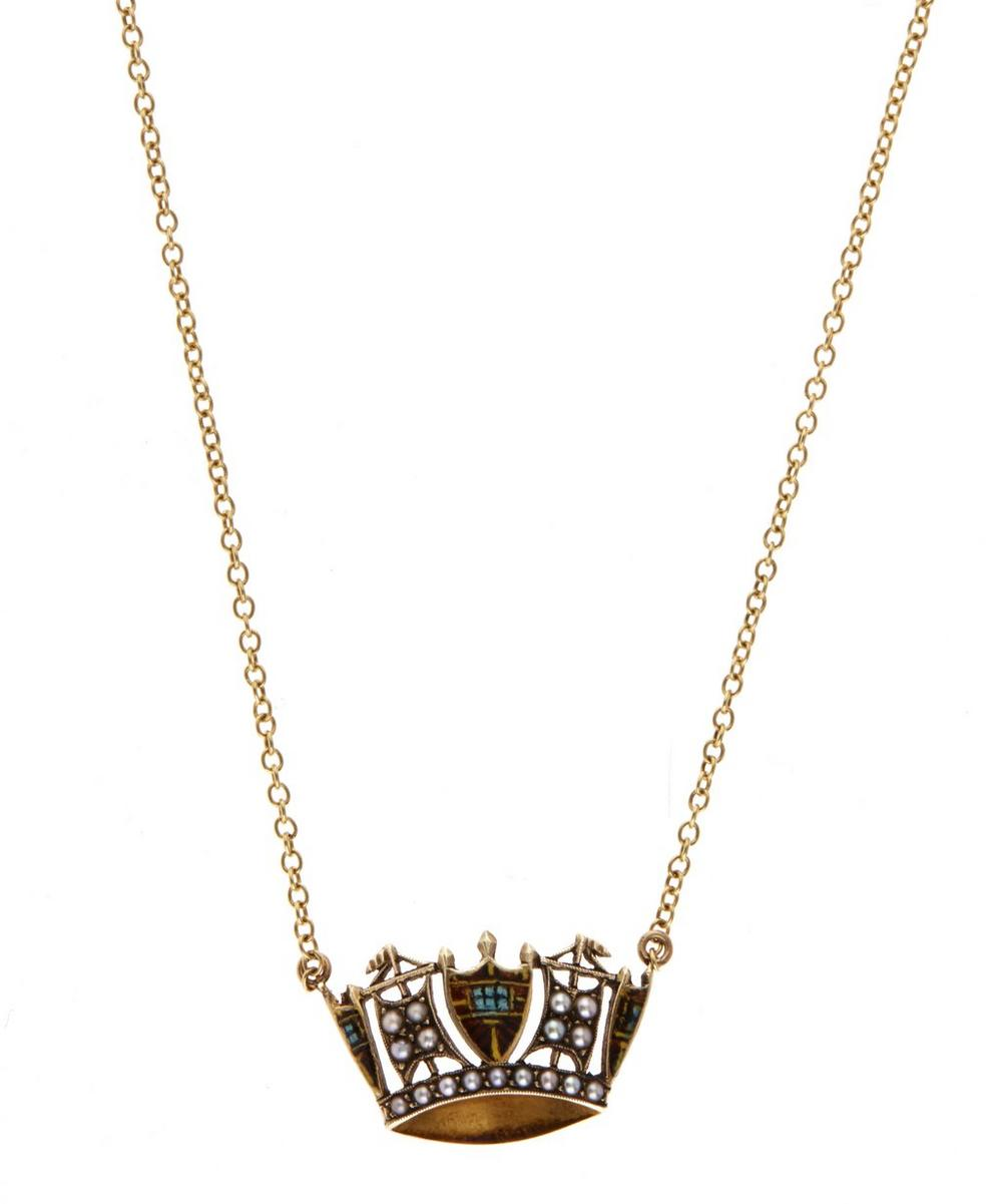 Gold Pearl Crown Necklace