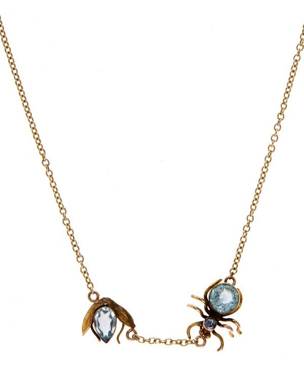 Gold Paste Spider Chasing Fly Necklace
