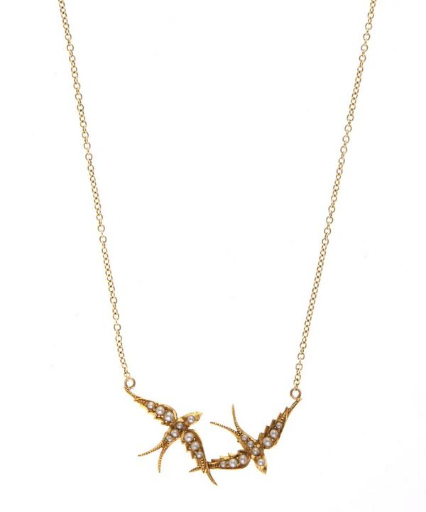 Gold Pearl Double Swallows Necklace