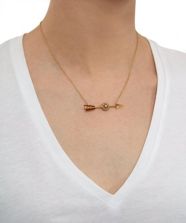 Gold Pearl Flower Arrow Necklace