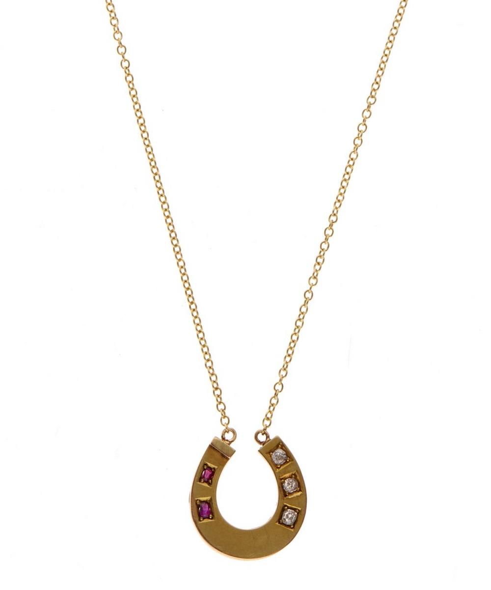 Gold Old Cut Diamond Ruby Horseshoe Necklace