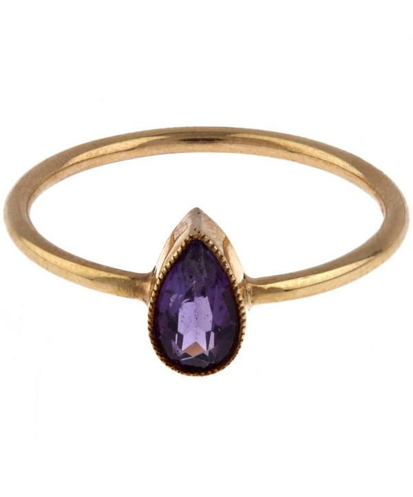 Gold Amethyst Teardrop Ring