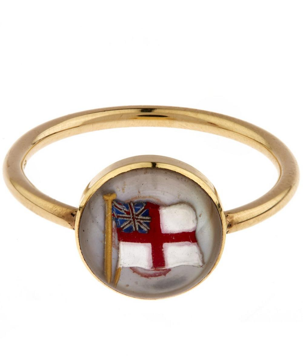 Gold Essex Crystal British Flag Ring