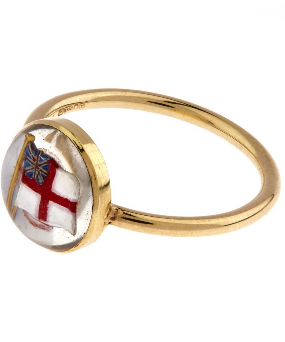 Gold Essex Crystal British Flag Ring