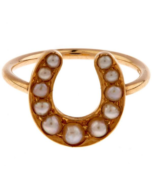 Gold Pearl Horseshoe Ring