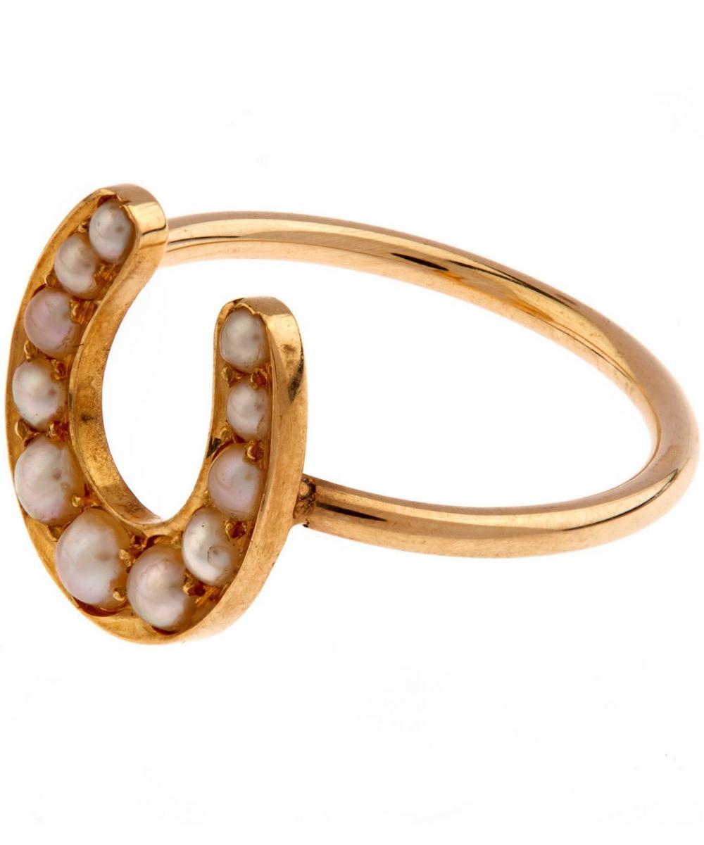 Gold Pearl Horseshoe Ring