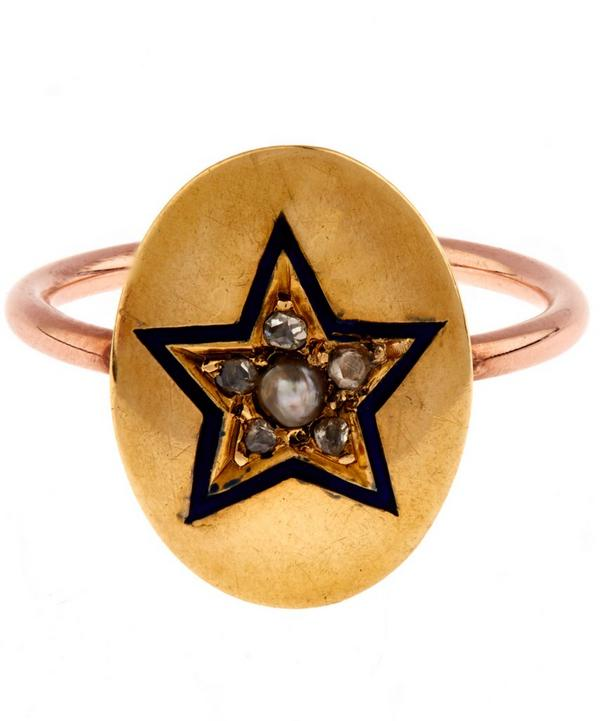 Rose Cut Diamond Pearl Enamel Star Disc Rose Gold Ring