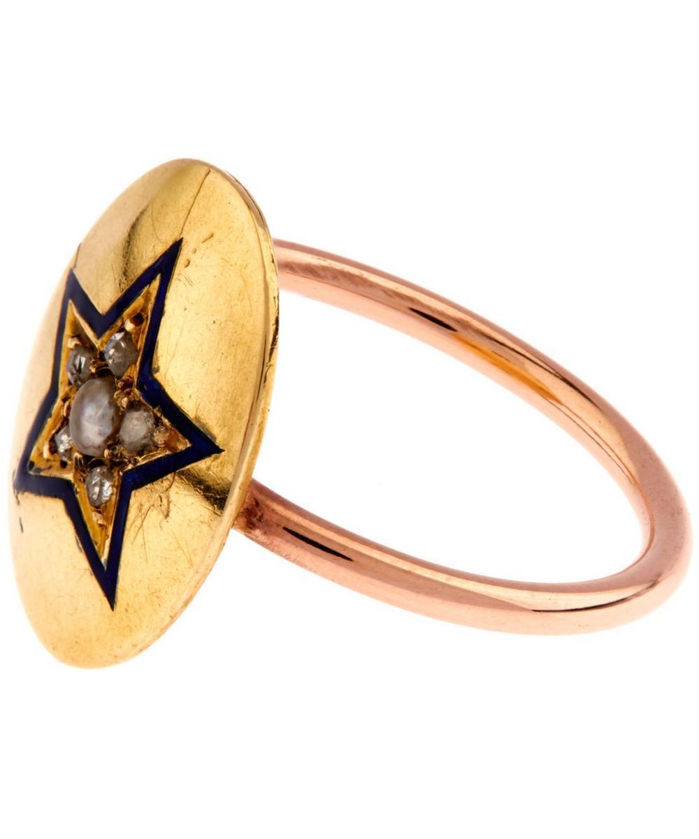 Rose Cut Diamond Pearl Enamel Star Disc Rose Gold Ring