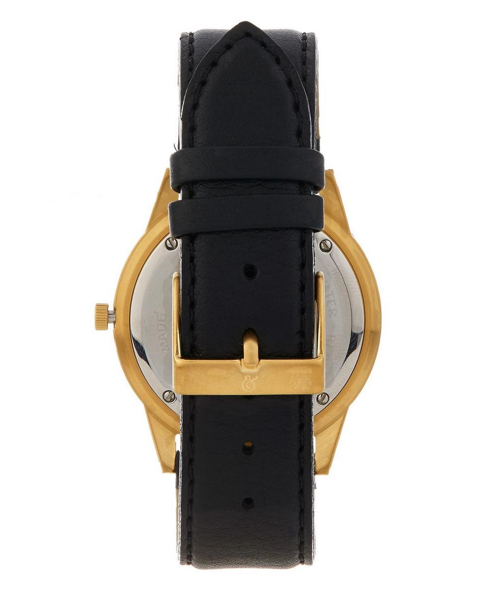 Saxon 39mm Black-Gold leather Watch