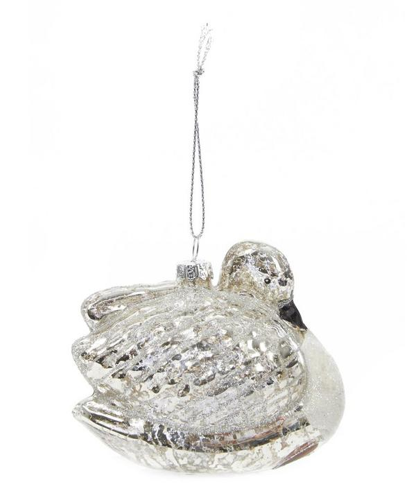 Glass Swan Bauble Decoration