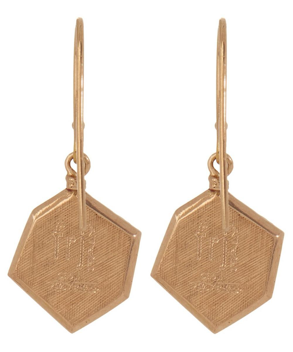 Rose Gold Brown Diamond Hexagon Drop Earrings