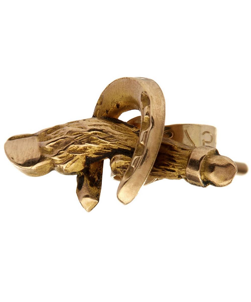 Gold Horse Shoe Hoof Single Earring