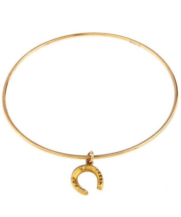 Gold Horse Shoe Charm Bangle