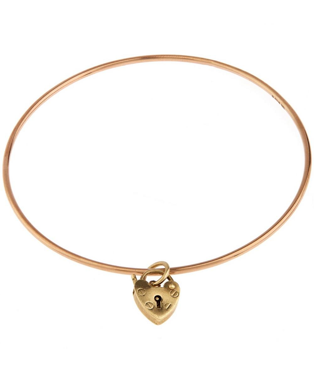 Rose Gold Heart lock Charm Bangle
