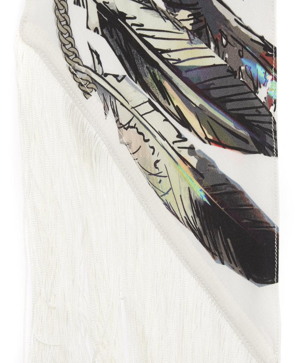 Feathers Classic Skinny Fringed Scarf