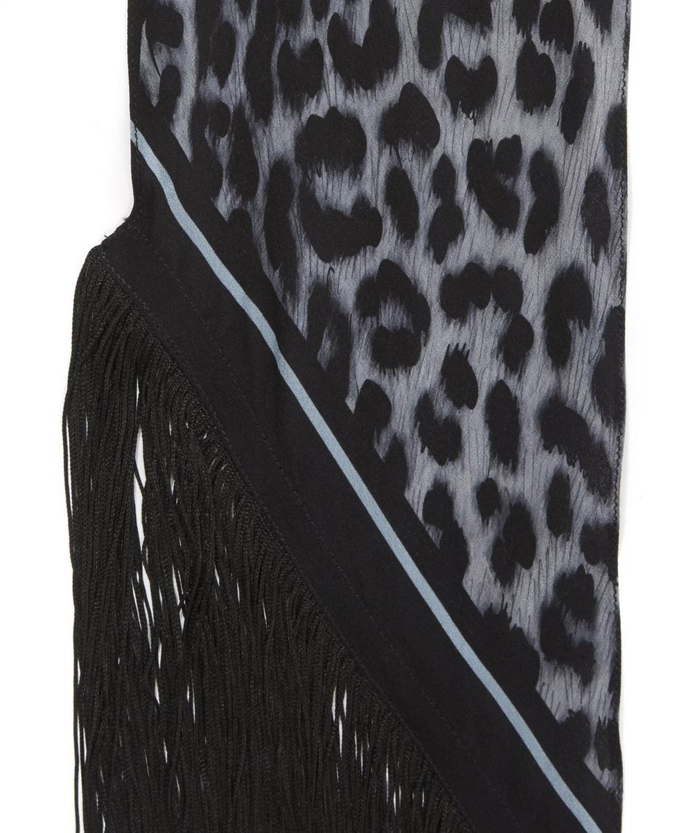 Rose Leopard Classic Skinny Fringed Scarf