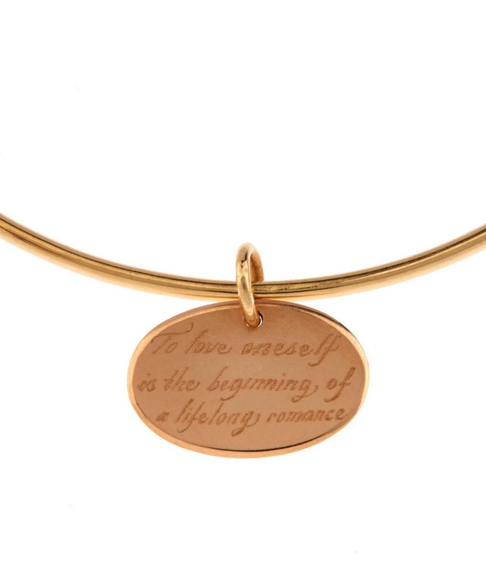 Gold Engraved Oval Charm Bangle