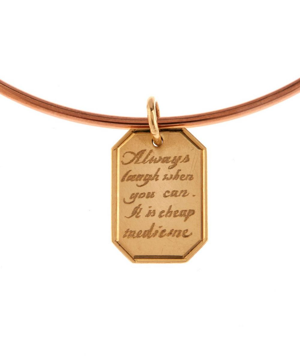 Gold Engraved Tag Charm Bangle