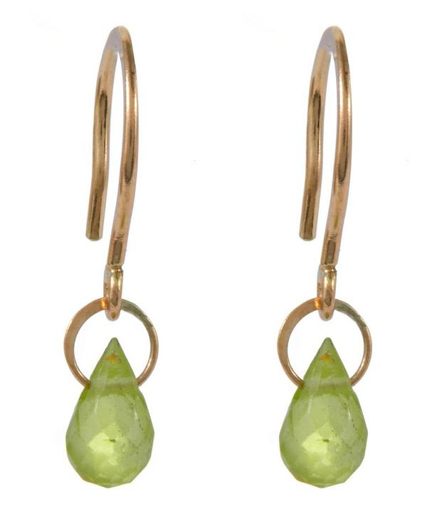 Mini Gold Peridot Drop Earring