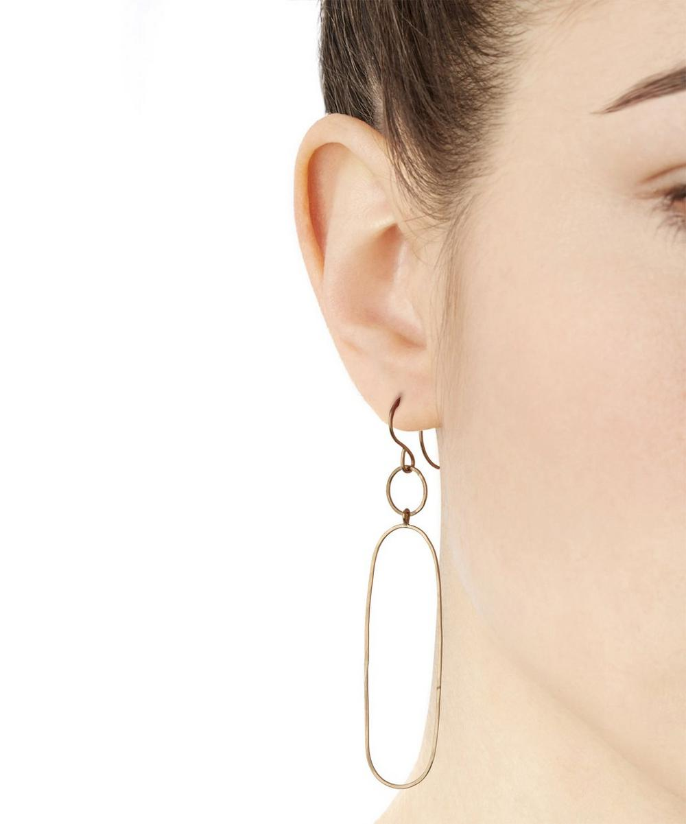 Gold Elliptical Drop Earring