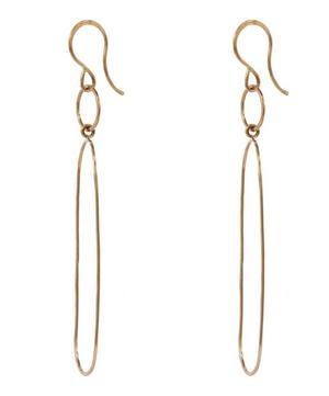 Gold Elliptical Drop Earring
