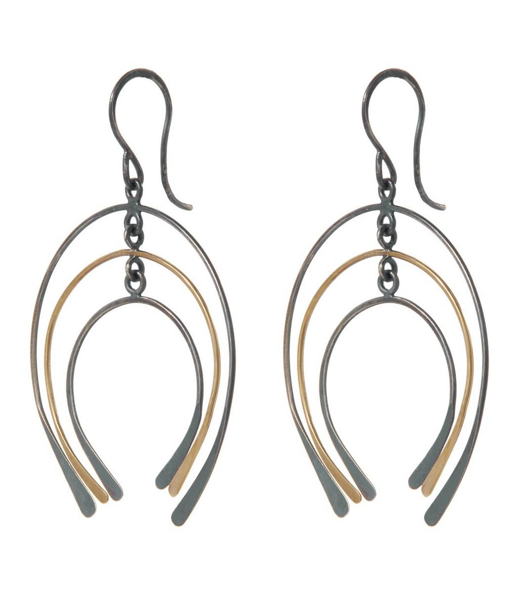 Gold and Silver Graduated Horseshoe Drop Earring