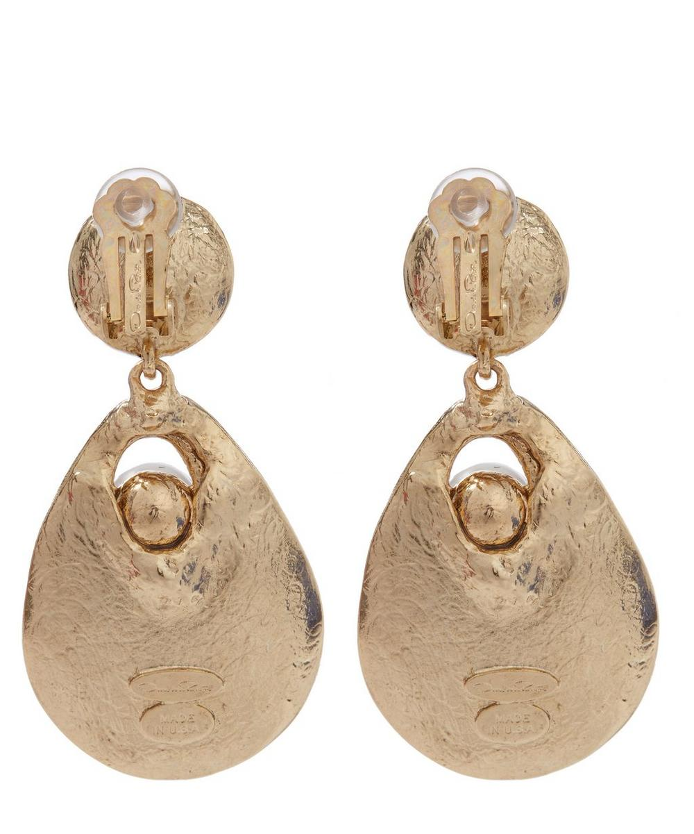 Gold-Plated Pearl Disc Earrings