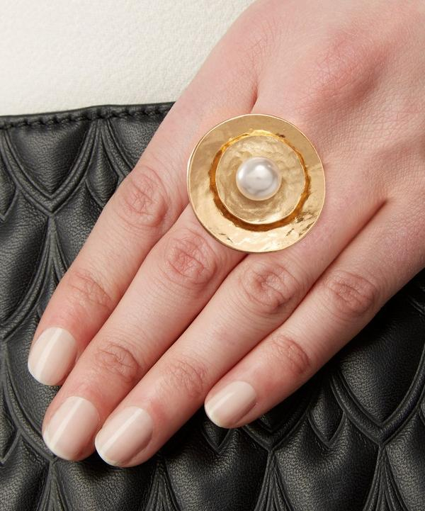 Gold-Plated Pearl Disc Ring