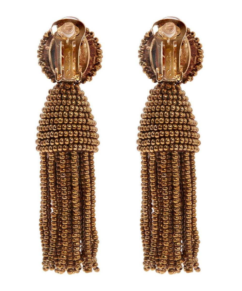 Short Beaded Tassel Earrings