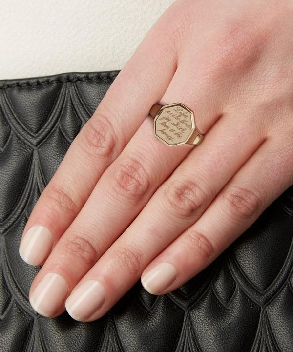 Gold Engraved Hexagonal Signet Ring