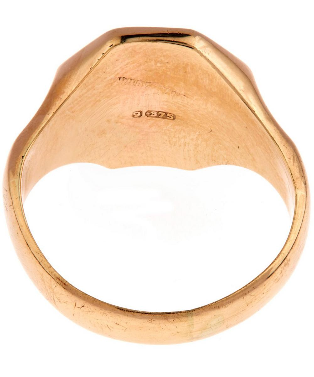 Gold Engraved Hexagonal Signet Ring